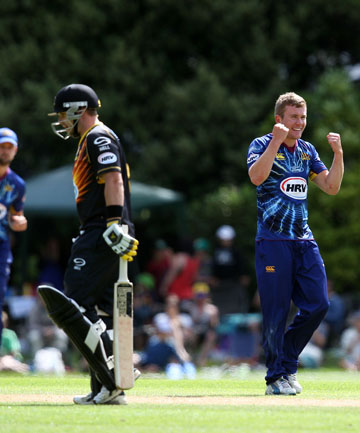 GONE: Nick Beard of Otago celebrates taking the wicket of Michael Papps.