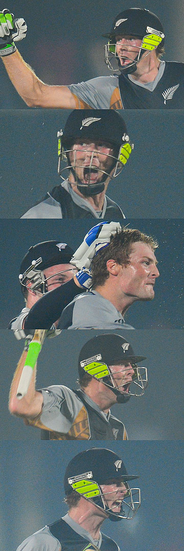 GUTSY GUPTILL: A montage of photos showing Martin Guptill's reaction after hitting the winning runs and scoring a century in New Zealand's Twenty20 win over South Africa.