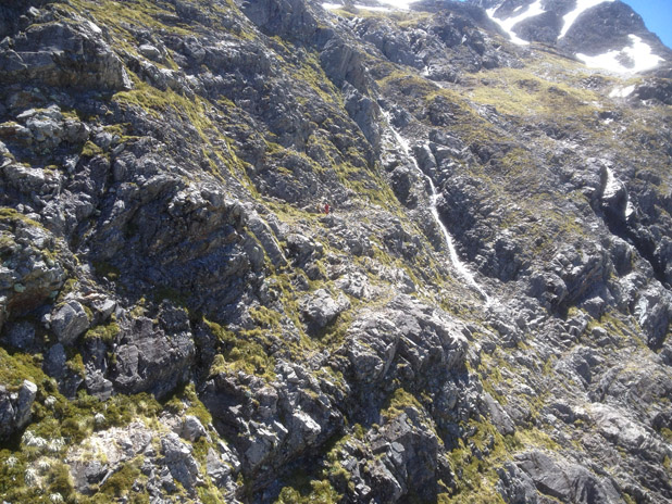 STEEP: Two English tourists were found, ''perched precariously on a shelf amongst steep bluffs'' on the southern side of Waiau Pass.