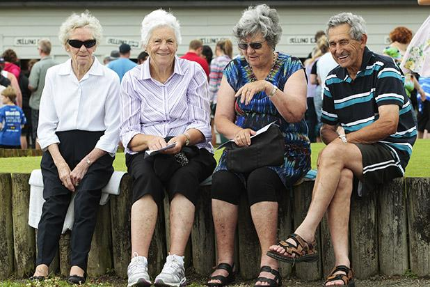 FULL OF HOPE: Margaret Bishop, Barbara Barnard, Janine Turner and Doug Caird, who got a new wallet for Christmas. ''I needed a new wallet to carry all my winnings from the races.'' He was yet to win when the Times left.