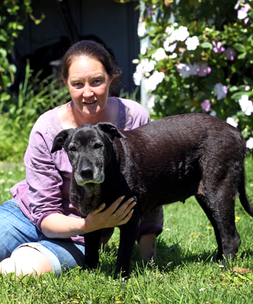 Cath Collins with her dog Naki, 8, a Boarder Collie cross Kelpie who has come 3rd place in a National animal Weight loss competition losing 16KG