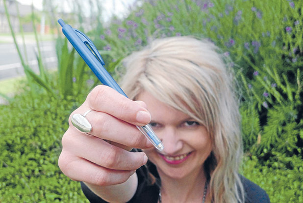 COMMUNICATION: Jenna Shaw loves her ballpoint pen, saying it is ''indispensable'' to her life.