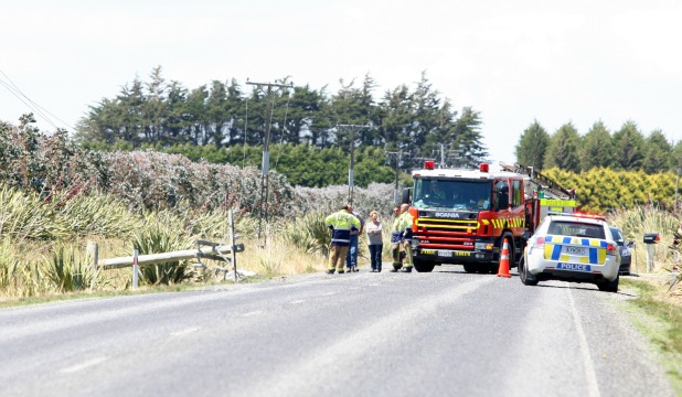 The scene of the crash outside Mokotua on the Invercargill-Gorge Rd highway yesterday afternoon.