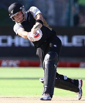 New Zealand captain Brendon McCullum drives a delivery during his innings against South Africa in the final game of their three-match Twenty20 cricket series in South Africa.