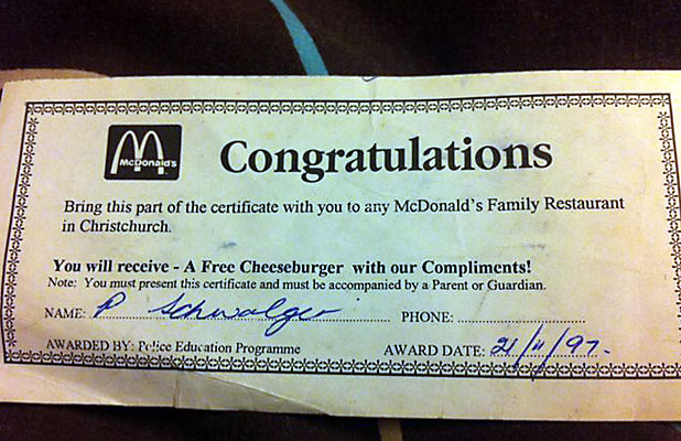 VINTAGE: McDonalds says it will honour the 15-year-old voucher.