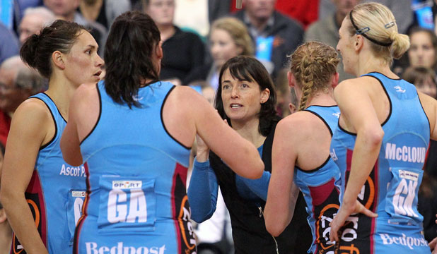 STEELY RESOLVE: Southern Steel coach Janine Southby gives orders to her team during a game during the 2012 season.