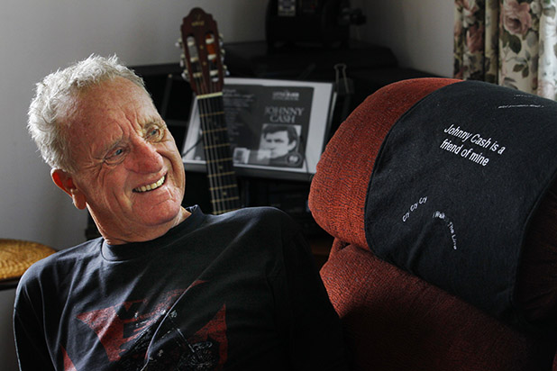 MAN IN BLACK: Len Cosford has made sure his country music hero Johnny Cash will play a leading role at his funeral.
