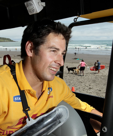 Vice captain of the Raglan Surf Club Mark Shrimpton on duty.