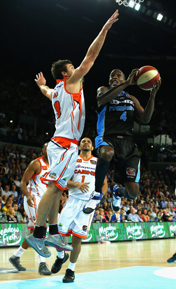 ON THE RISE: The Breaker's Cedric Jackson, in hot form, shoots during the round 1 match against the Cairns Taipans at Vector Arena on December 13.