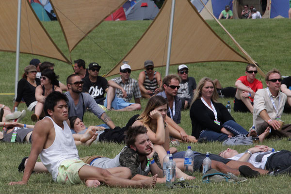 Crowds enjoy the warm weather at Terrace Downs at the Rhythm and Alps music festival.