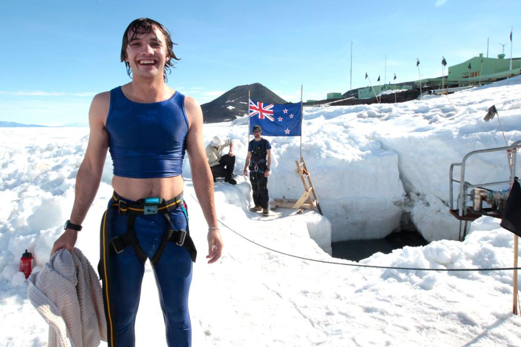 University of Canterbury engineering student and Antarctic Youth Ambassador Charlie Wilkinson, 21, after his polar plunge at Scott Base in Antarctica.
