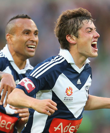 KIWI MESSI: Marco Rojas (right) celebrates with Archie Thompson after scoring a spectacular goal for the Melbourne Victory against the Newcastle Jets.