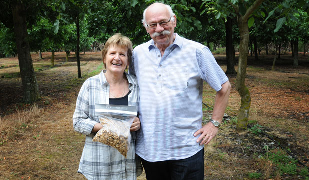 Alma and Ad van der Tol who planted their walnut trees in 1996.