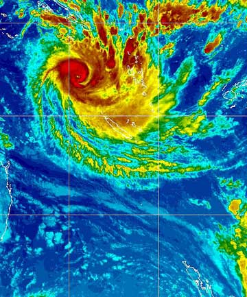 An infrared satellite image of Cyclone Freda.