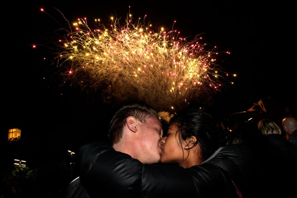 Lawrence May and Debbie Paulson-Wilson celebrate at midnight in The Square, Palmerston North.