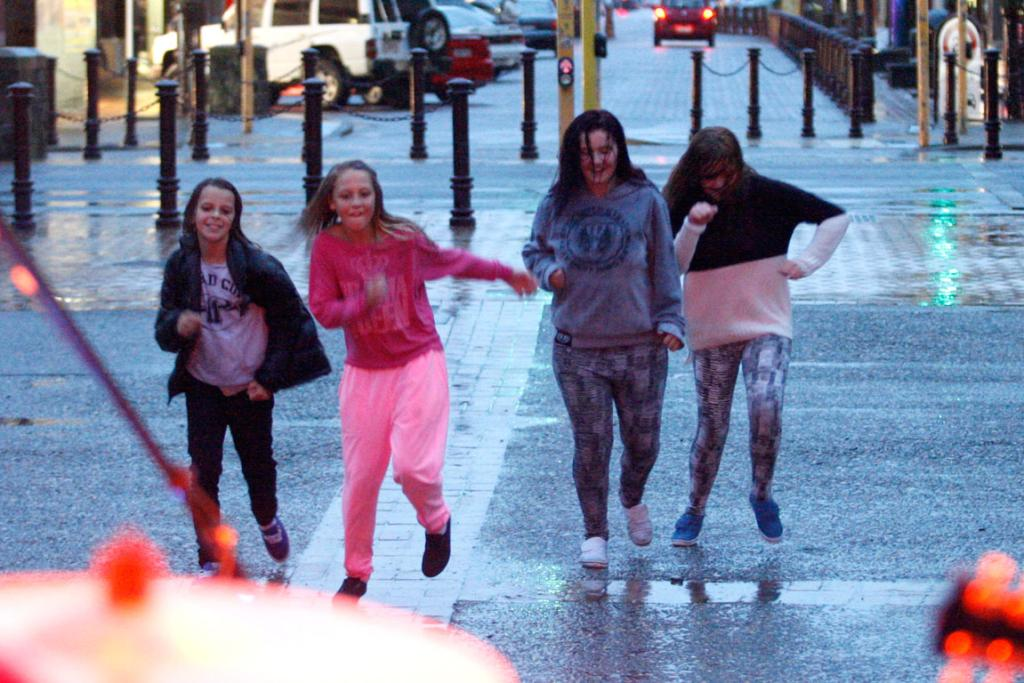 Invercargill's Wachner Place was quiet on New Year's Eve because of poor weather, but it didn't stop Kaylee Mann, Madison Remnant, Charmaine Hodgekinson-Stewart and Chloe Johnstone from dancing.
