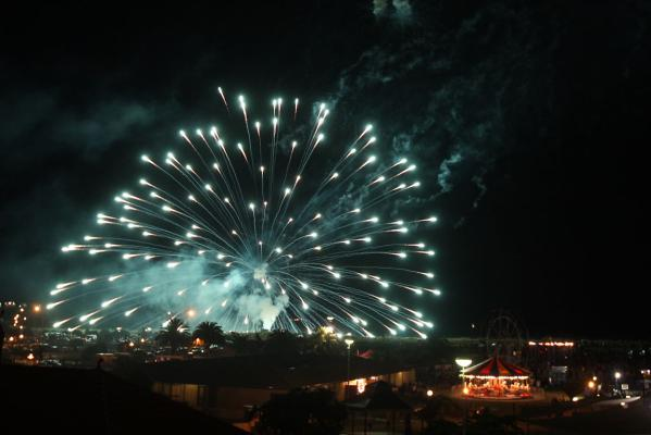 New Year's Eve celebrations on Timaru's Caroline Bay and the massive fireworks display.