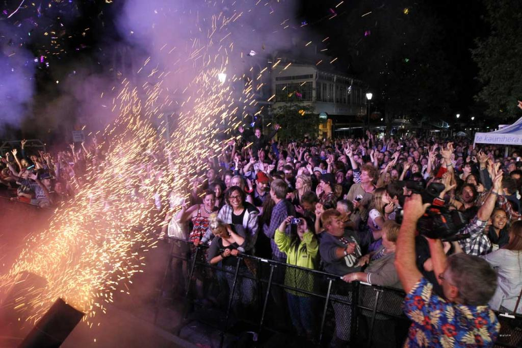 Revellers welcome in the New Year in Nelson's Trafalgar Street.