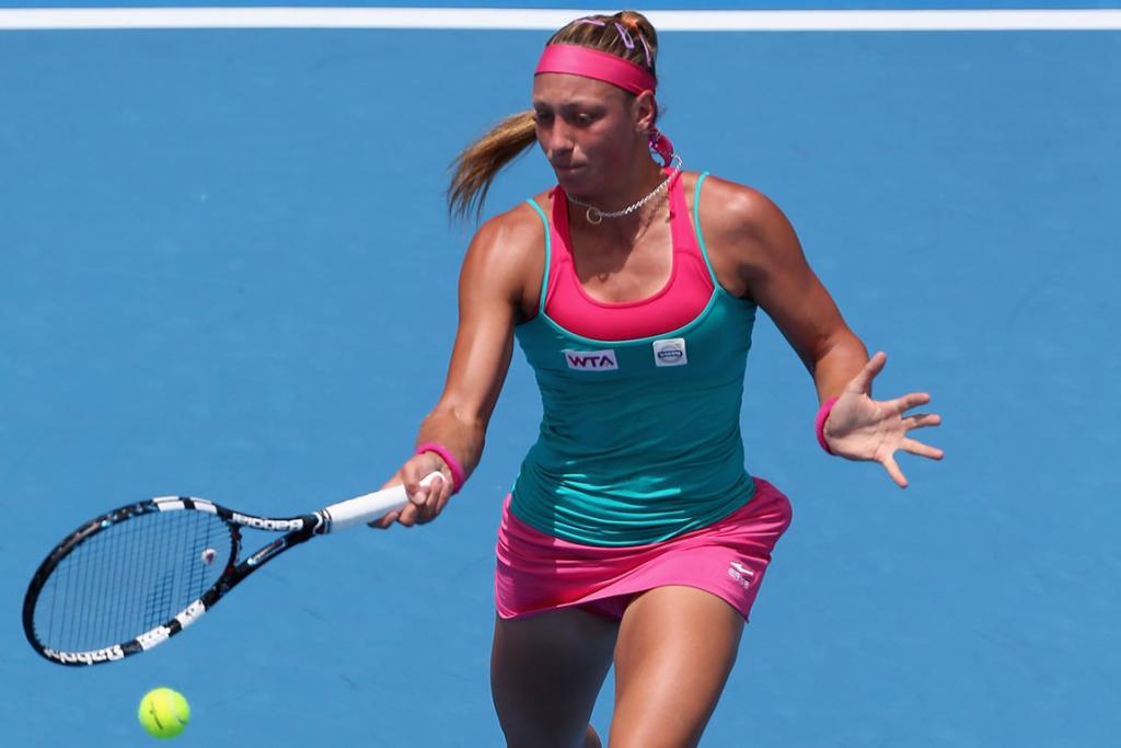 Belgium's Yanina Wickmayer plays a forehand in her second round win over Romina Oprandi of Switzerland during day three of the ASB Classic in Auckland.