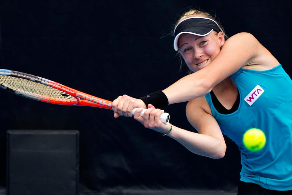 Johanna Larsson from Sweden beat second seed Julia Goerges in the second round.