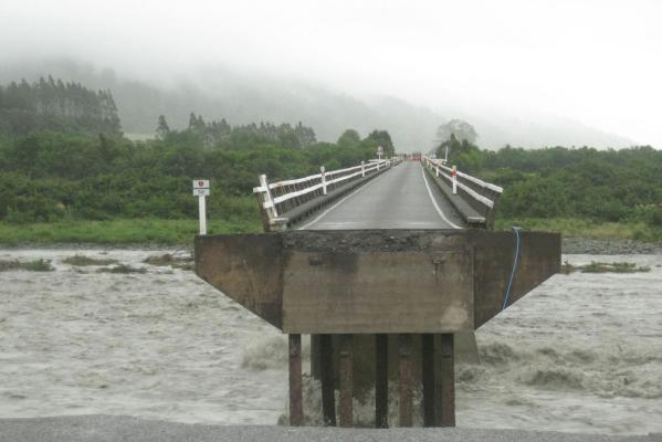 The missing section on the north side of the Wanganui River bridge, in South Westland after it washed away on Wednesday.