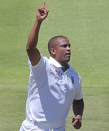 South Africa's Vernon Philander celebrates one of his five wickets in New Zealand's first innings capitulation.
