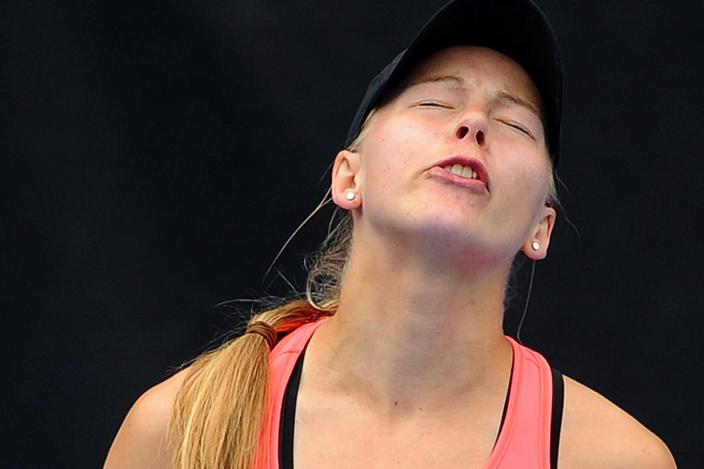 The look on Johanna Larsson's face says it all she loses her quarter-final clash with Mona Barthel.
