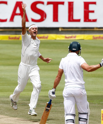 WICKET BALL: Chris Martin celebrates the wicket of Faf du Plessis on day two of the first test against South Africa in Cape Town.