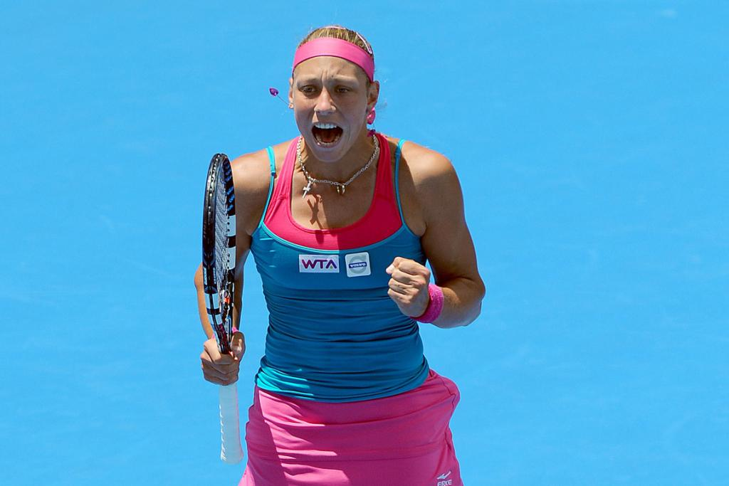 Yanina Wickmayer celebrates after booking her place in the final.