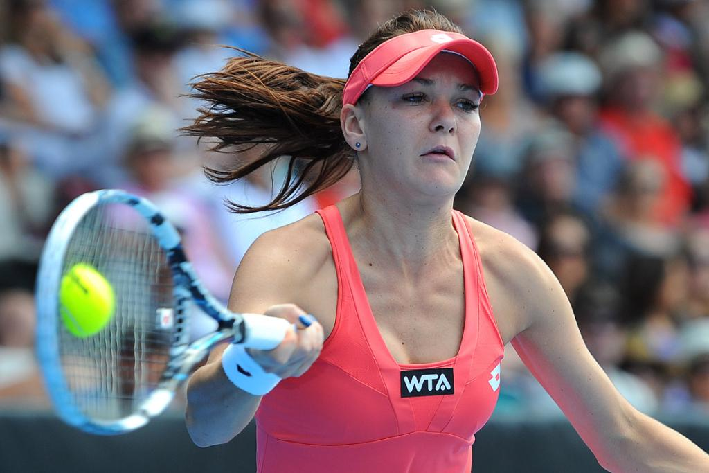 Agnieszka Radwanska plays a forehand in her semifinal against Jamie Hampton.