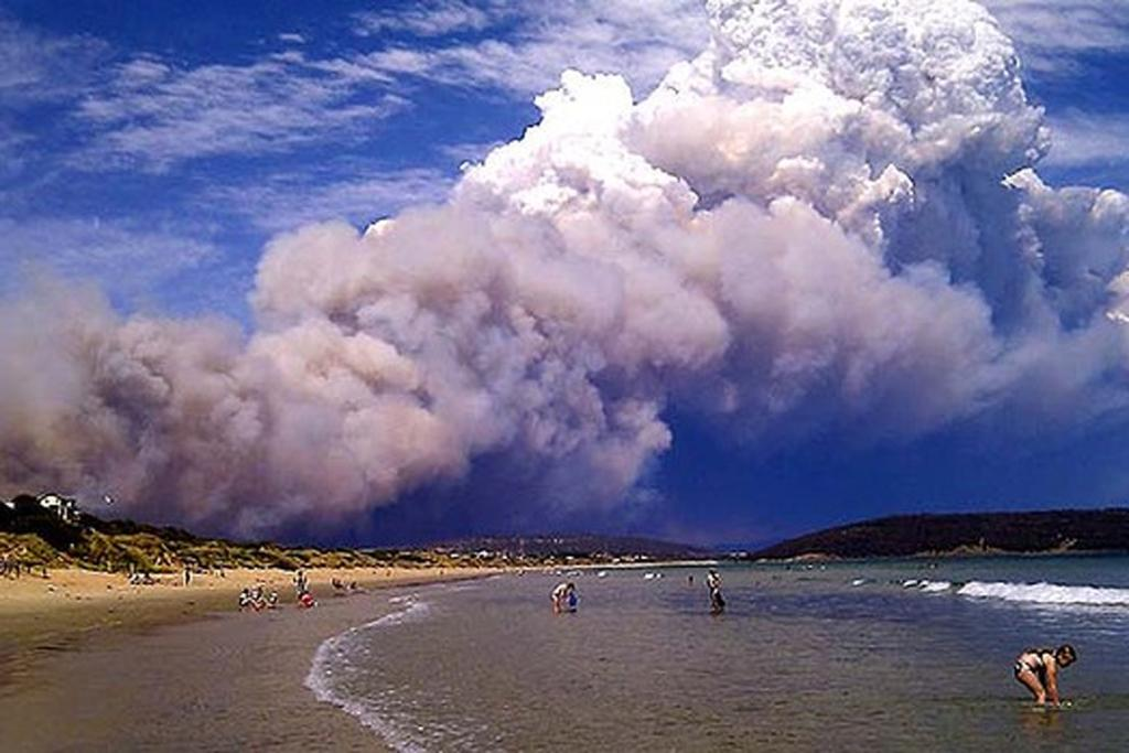A fire at Tasmania's Forcett, 30km from Hobart, sends smoke over Park Beach.