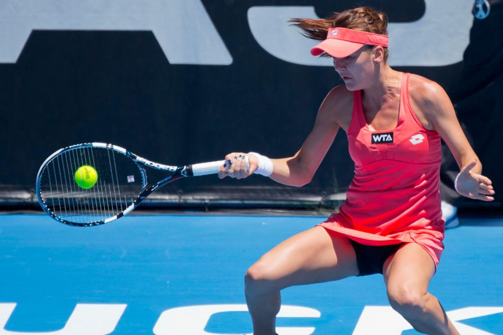 Agnieszka Radwanska from Poland on her way to winning against Yanina Wickmayer.