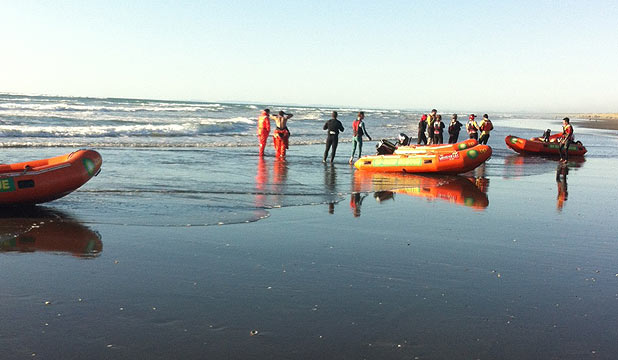 SEA SEARCH: Surf lifesavers at Himatangi Beach.