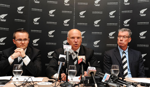 THREE WISE MEN: From left,  Black Caps coach Mike Hesson, NZ Cricket CEO David White, and director of cricket John Buchanan.