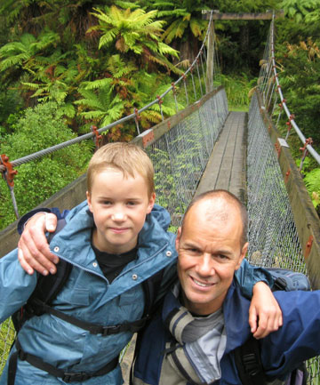 Liam Marshall with his father, Glenn Marshall, on the Waikaremoana Track.