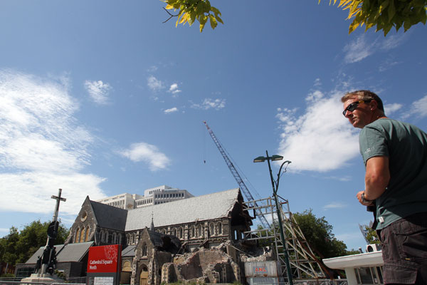 Paul Screen from England takes in the view of the Cathedral before the Red Zone cordons are back in place tomorrow.