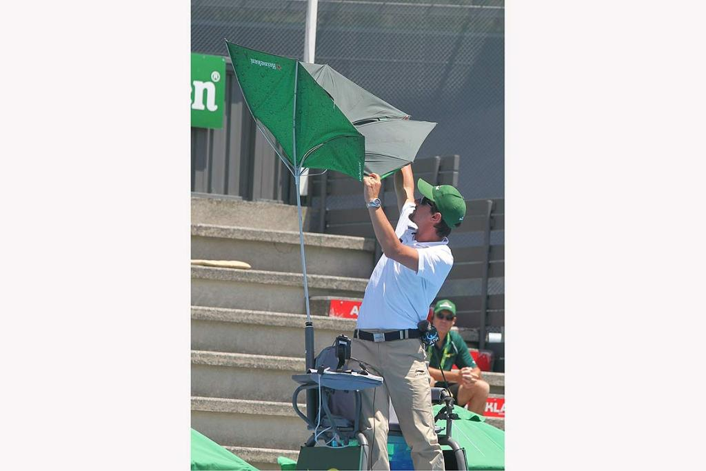 A high gust of wind created a little havoc for the first umpire on court this morning.