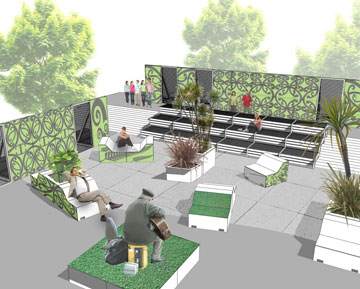 An impression of the temporary entertainment and public space the Christchurch City Council wants in Cathedral Square.