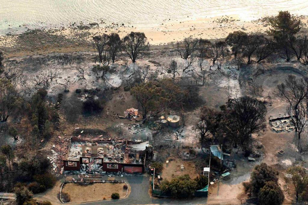 The settlement of Dunalley, about 40 kilometres east of Hobart, was one of the worst hit by the Tasmanian bush fires.