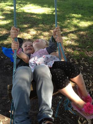 Charlotte and William Macfie hang around in Whitianga on Charlotte's second birthday.