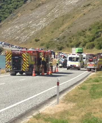 CRASH SCENE: Traffic backed up after a crash in Cromwell Gorge. Police say two people were injured.