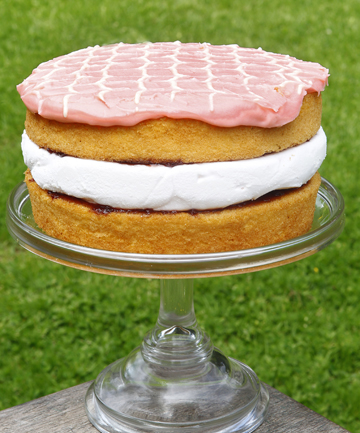 Pink marshmallow sponge sandwich is a layered treat.