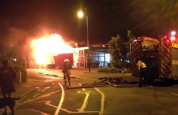 ABLAZE: Firefighters worked overnight to try and save McGregor's Akaroa Bakery.