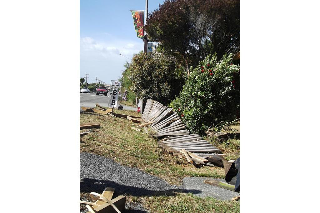 Wreckage left by a mini twister in Kaikoura.