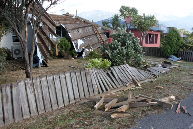 Roof damage in Kaikoura