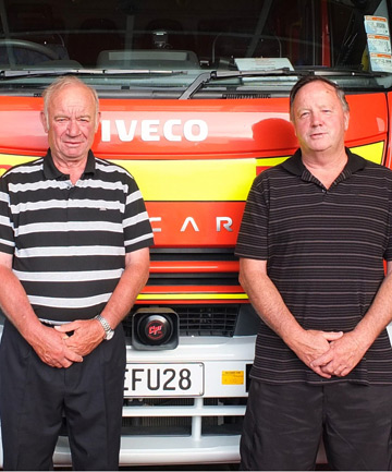 DURABLE DUO: Derek Woodcock and Ron Heal have each served 40 years in the Motueka Volunteer Fire Brigade.