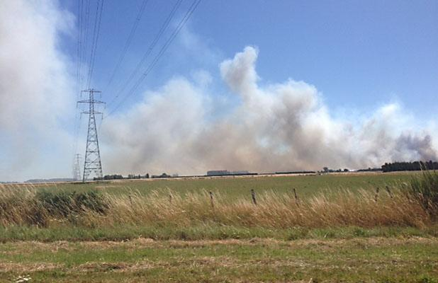 LARGE FIRE: The Fire as seen from Birchs Rd, Prebbleton
