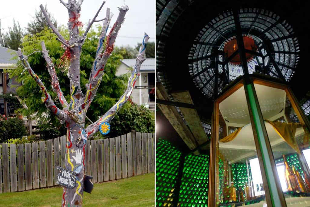 The magic wishing tree (left) and the interior of the Waikaia bottle house.