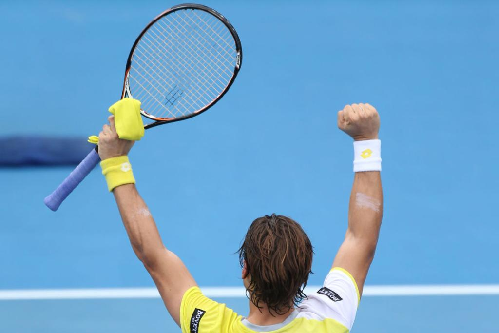 David Ferrer celebrates his win against Gael Monfils.