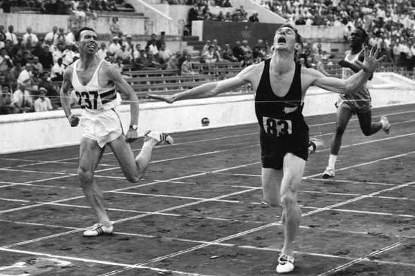 Peter Snell, the dark horse at the Rome Olympics in 1960, captures gold.